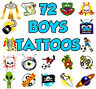72 BOYS TEMPORARY TATTOOS CHILDRENS TOY PARTY BAG CHRISTMAS STOCKING FILLERS