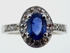 14K WHITE GOLD RING, .80 CT NATURAL SAPPHIRE, .32 CTW DIAS, EGL CONSULT APPRAIS