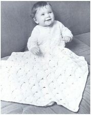 Babies' DK Trellis-work Pattern Pram Cover Vintage Crochet Pattern 10076