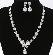 Crystal Diamond Butterfly Necklace Earrings Set Wedding Bride Prom Jewelry UK