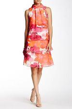 Eliza J Sleeveless Mock Neck Floral Tier Dress Size 8