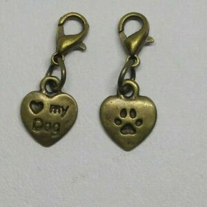 "5 or 20pc Bronze ""Heart Dog"" and Pawprint Zipper Pull/ Charm/ Pendant; Bulk"