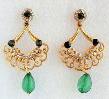 Earrings Fashion Jewelry for Women Girls Ethnic Indian Bollywood Green Gold Drop