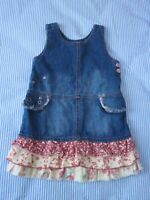 Naartjie jeans dress with tiered floral bottom, size  2T