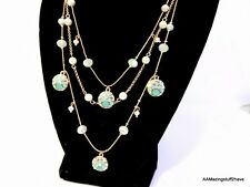 Betsey Johnson Rose Gold Tone Faceted Gem Stones & Pearls Chain NEW $48