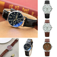 Men's Casual Analog Quartz Wrist Watch Business Watches Round Dial PU Strap