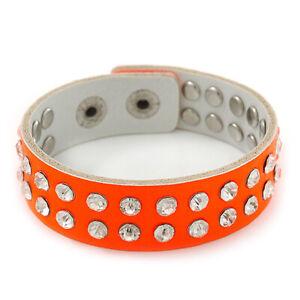 Crystal Studded Neon Orange Faux Leather Strap Bracelet - Adjustable up to 20cm