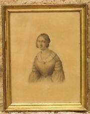 Dessin époque romantique 19ème portrait Jeune fille