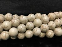 "8mm - Natural Magnesite ('White Turquoise') Round Beads 15.5"" Strand UK EBAYER"