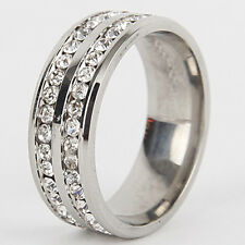 HIGH CZ Stainless Steel Ring Men Women Wedding Band Silver Gold Size 6-12 Ring