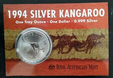 1994 Australia Kangaroo 1 oz Silver (.999) $1 coin on card