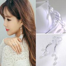 Simple Style Pearl Bead Long Chain Drop Earrings Fashion Retro Jewelry For Women