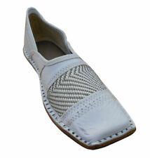 Men Shoes White Mojari Indian Leather White Flip-Flops Loafers Jutties Flat US 8