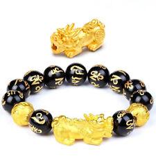 Pure 24K Yellow Gold Bracelet 3D Luck Bless Pixiu Black Agate Beads Bracelet