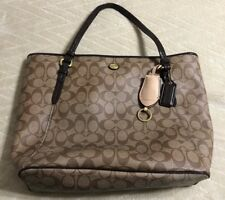 COACH Khaki/Brown PEYTON SIGNATURE ZIP TOP TOTE #F27348