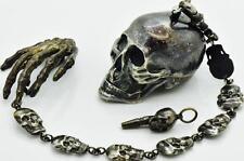 MUSEUM  Victorian silver MEMENTO MORI SKULL pocket watch&skulls chain fob c1850s