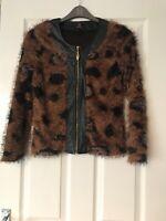 Simon Jeffrey Spotty Fluffy Faux Leather Mix Jacket Size Small Vgc