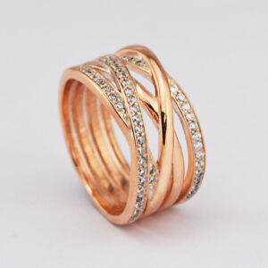 ENUINE S925 ROSE GOLD ENTWINE ENTWINED ENTWINING RING SIZE 60 LTD TIME SALE !