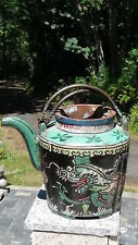 ANTIQUE 19c CHINESE POTTERY POLYCHROME TEAPOT BLACK W/DRAGON MOTIFS,MARK,MARKED