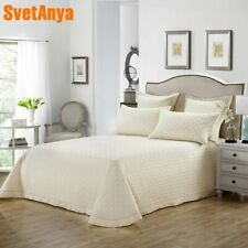Beige Solid Simple Quilting Bedsheet Print Cotton Stitching Bedlinens Bed Cover