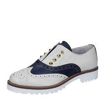 scarpe donna OLGA RUBINI 35 EU classiche beige blu pelle BY331-B