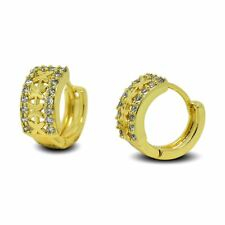 9ct Gold Filled Womens Hoop Earrings with Star Pattern White CZ Crystals 9K GF