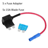5 Pack 12V 15Amp Car Add-a-circuit Fuse TAP Adapter , Medium ATM APM Blade Fuse