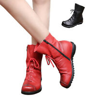 Vintage Womens Ladies Real Leather Snow Boots Cowboy Riding Warm Fur Lined Shoes