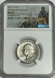 2021 D NGC MS66 CROSSING THE DELAWARE CLAD 25c QUARTER GREAT EYE APPEAL