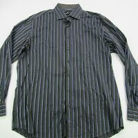 Bugatchi Uomo Mens Button Up Casual Shirt Gray Stripes Long Sleeve 2XL Casual