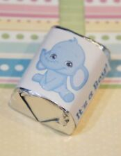 30 Baby Shower Its a Boy Blue Elephant Hershey Candy Nugget Wrappers Stickers