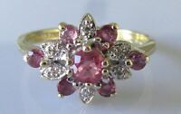 Vintage 9ct yellow gold multi ruby diamond flower cluster ring size P