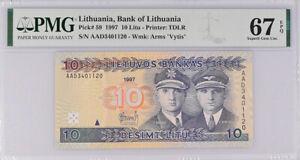 Lithuania 10 Litu 1997 P 59 Superb Gem UNC PMG 67 EPQ