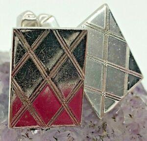 Swank Vintage Sterling Silver Argyle Patterned Cufflinks 8.6 Grams