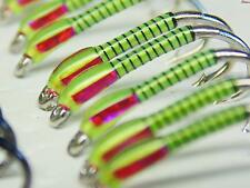 3 X Yellow buzzers with UV ice cheeks size 10 trout fishing buzzers best flies