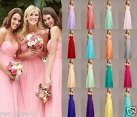 Simple Chiffon Long Evening Ball Gowns Party Prom Bridesmaid Dress Size 6-18