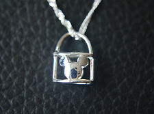 925 Sterling Silver Plated Hollow Cut Out Micky Mouse Bag Pendant Necklace 44cm