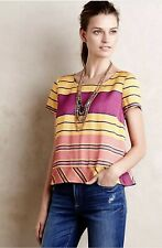 Anthropologie Womens Maeve Summer Short Sleeve Striped Bennett Top Size 6