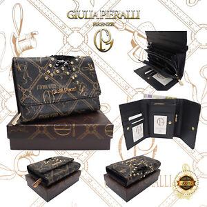 ★Damen XL Geldbörse Giulia Pieralli Design klein Portemonnaie Geldbeutel Schwarz