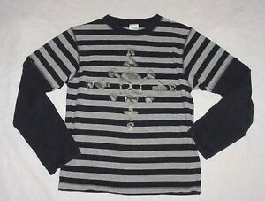 VGUC Gymboree Boys AHOY MATEY Black & Gray Striped Skull Cross Bones Shirt Sz 10