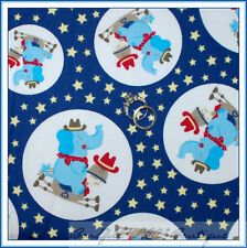 BonEful Fabric FQ Cotton Quilt VTG Red Blue Baby Star Elephant Dot Horse Cow*boy