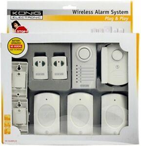NEW PLUG & PLAY WIRELESS ALARM SYSTEM, 2 DOOR/WINDOW, 3 PIR SENSORS, 2 REMOTES