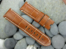 24mm Grain Leather Strap Deployment Honey Brown Watch Band Pam 1950 24 XV