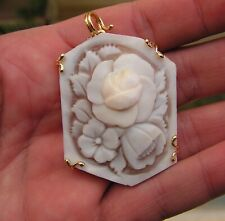 Cameo Flowers Pendant Made In Italy Victorian Style Hand Carved Italian Shell