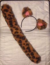 Furry Leopard Ear Barrettes and Tail, Dual Use, Artisan Made, Cosplay, Costume