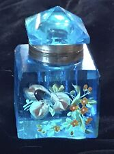ANTIQUE AQUA TURQUOISE GLASS VICTORIAN INKWELL WITH ENAMELED FLORALS