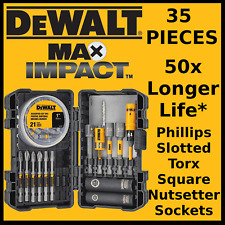 DeWALT Max Impact 35 PC SCREWDRIVING BIT SET Magnetic Screw Holder Sleeve Socket