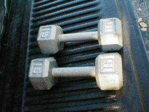 Set of 2 15 lb Iron Hex Shaped Dumbbell Hand Fitness Weights Total 30-Pounds