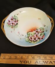 Schonwald Bavarian  Hand painted violet two handed tray with applied gold trim
