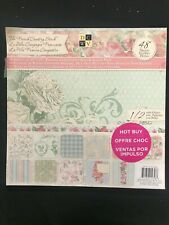 FRENCH COUNTRY STACK 48 sheets some glitter, embossed SCRAPBOOK pastels DCWV